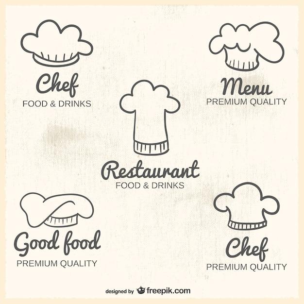 Logos Con Gorros De Cocinero Vector Gratis