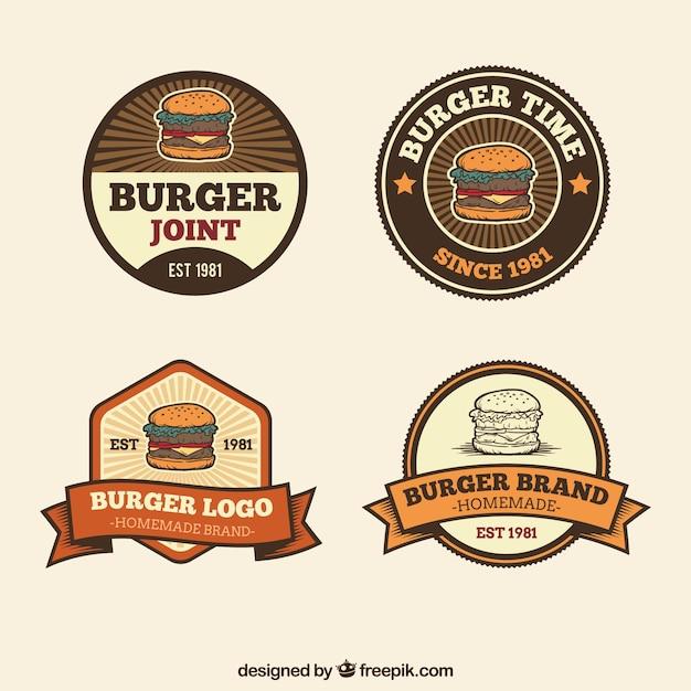 Logos De Hamburguesas Decorativos En Estilo Retro Descargar