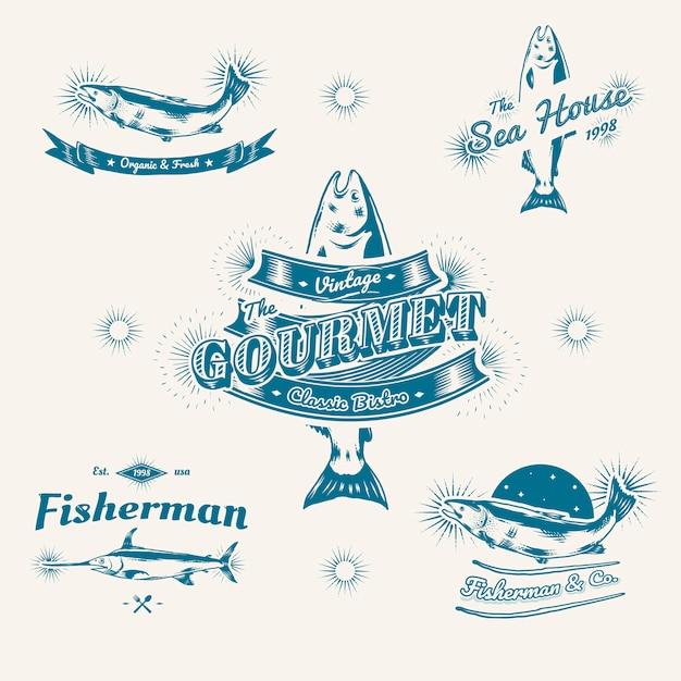 Logos marinos vintage vector gratuito