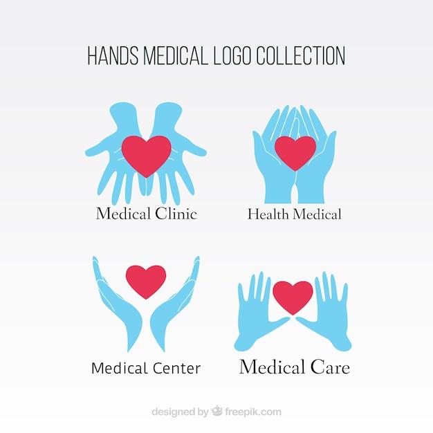 Logos médicos de manos con corazón vector gratuito