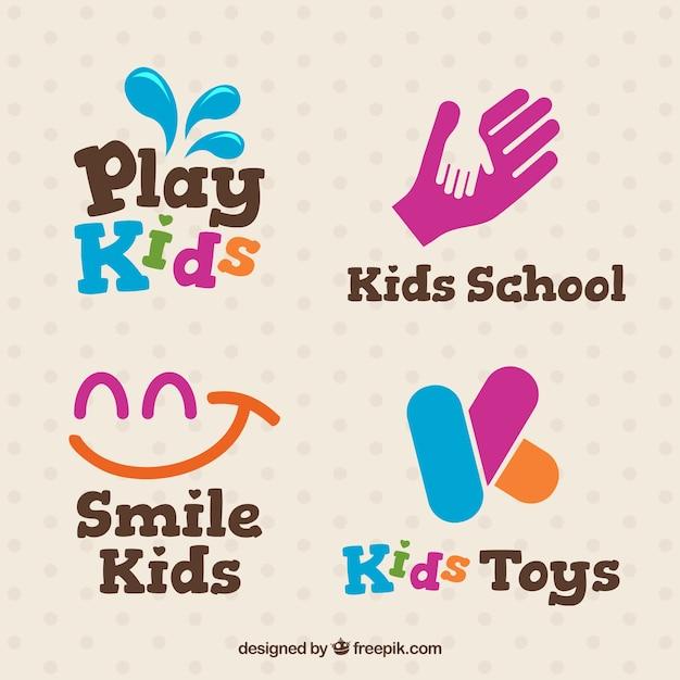 Logos de niños fantásticos con detalles rosas Vector Premium