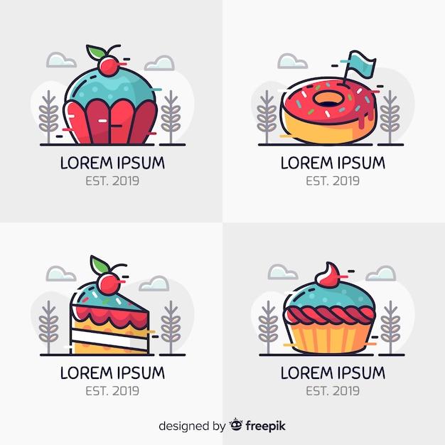 Logos de panadería en arte lineal vector gratuito