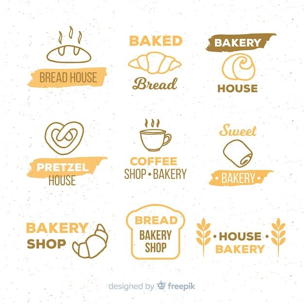 Logos de panadería dibujados a mano vector gratuito