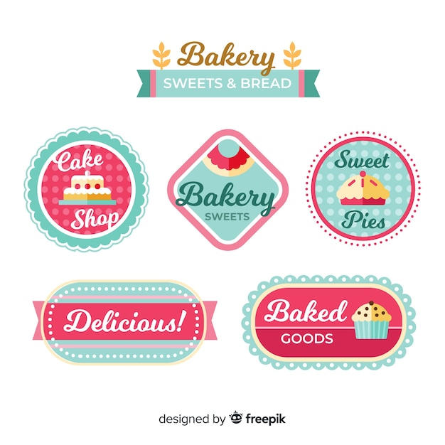 Logos de panadería en diseño plano vector gratuito