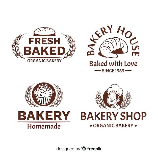Logos de panadería vintage vector gratuito