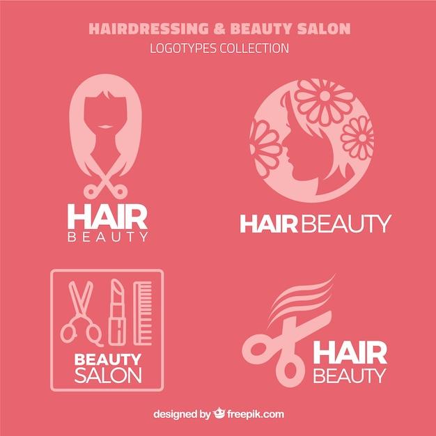Logos de peluquería y salón de belleza vector gratuito
