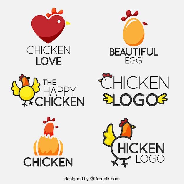 Logos de pollos fantásticos en diseño plano vector gratuito