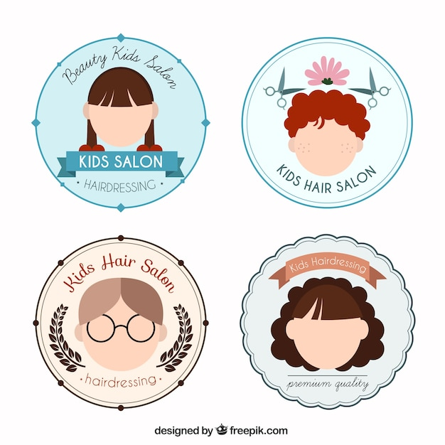 Logos redondos planos de peluquería de niños | Descargar Vectores gratis