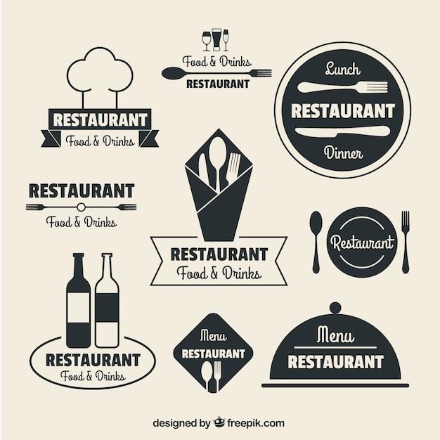 Logos de restaurante en diseño plano Vector Premium