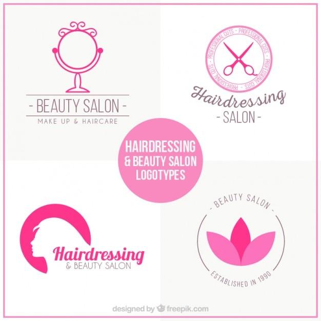 Logos de salón de belleza en color rosa vector gratuito