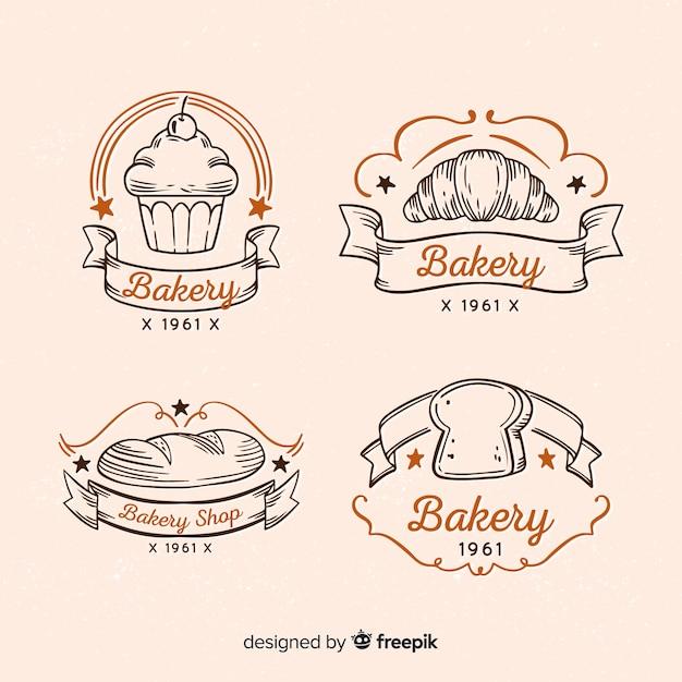 Logos vintage de panadería vector gratuito