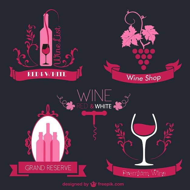 Logos vintage de vino vector gratuito
