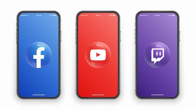 Logotipo 3d en la pantalla del teléfono inteligente Vector Premium