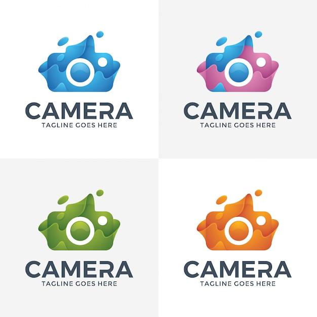 Logotipo abstracto moderno de la cámara con el estilo 3d. Vector Premium