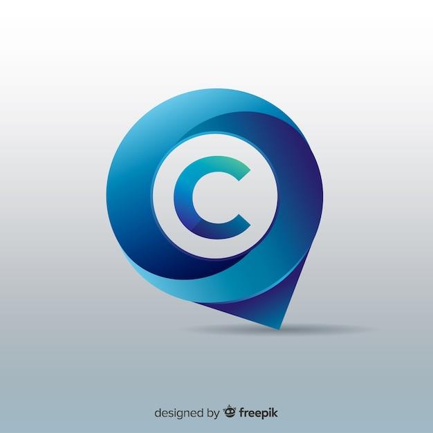 Logotipo abstracto y redondeado de negocios con efecto degradado vector gratuito