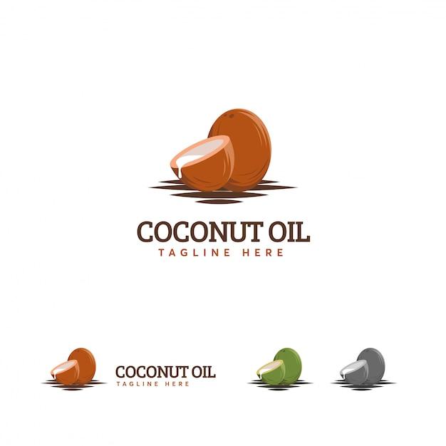 Logotipo de aceite de coco, logotipo de coco marrón Vector Premium