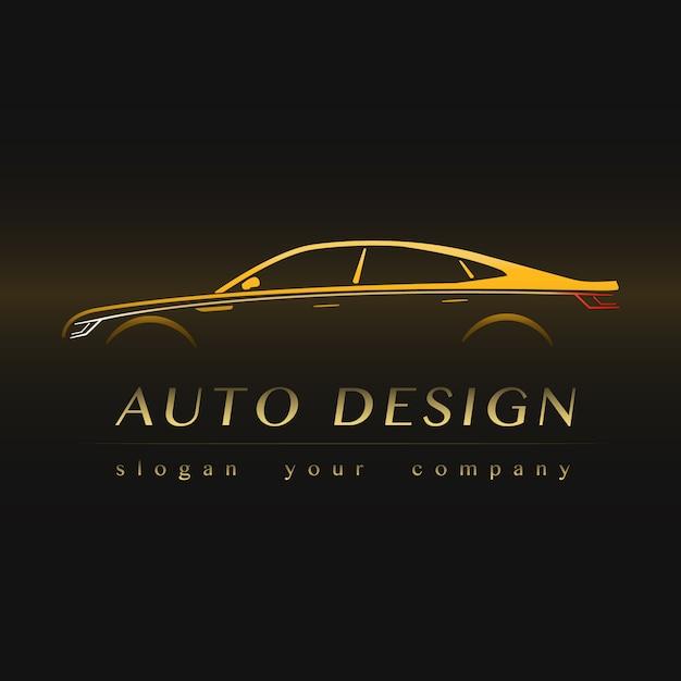 Logotipo amarillo de auto company. Vector Premium