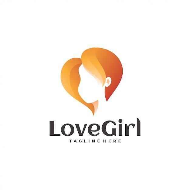 Logotipo de amor corazón y belleza mujer Vector Premium
