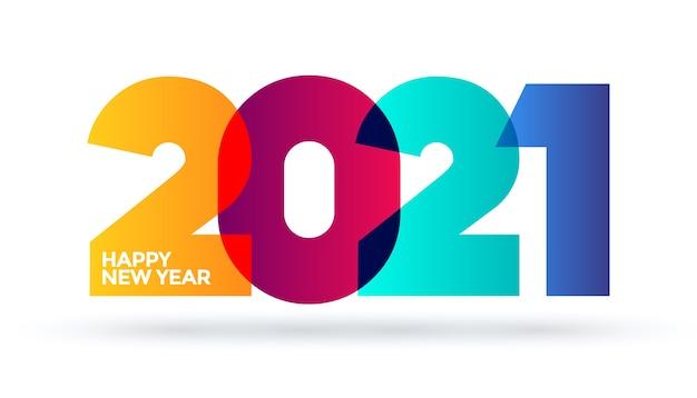 Logotipo de año nuevo con colores degradados a todo color. recurso. modelo. Vector Premium