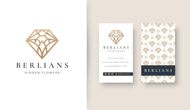 Logotipo de arte de línea de diamante de lujo con tarjeta de visita Vector Premium