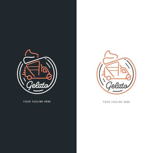 Logotipo de autos de helado gelato Vector Premium
