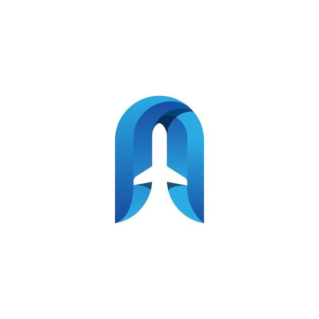 Logotipo del avión Vector Premium