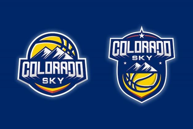 Logotipo de baloncesto de sky colorado Vector Premium
