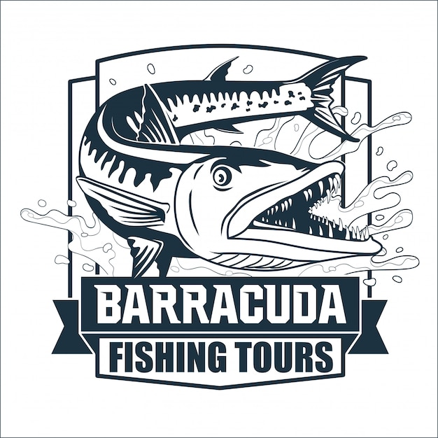 Logotipo de barracuda fishing tours Vector Premium