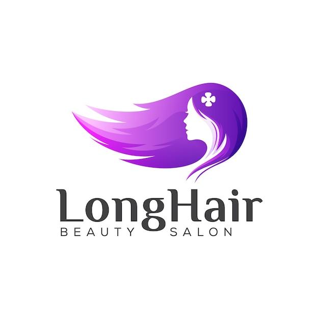 Logotipo de belleza de cabello largo, diseño de logotipo degradado de peluquería de mujer Vector Premium