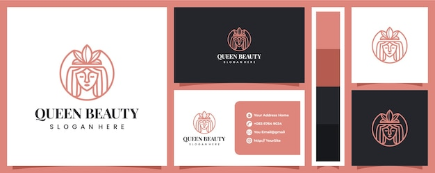 Logotipo de belleza de reina de lujo con plantilla de tarjeta de visita Vector Premium