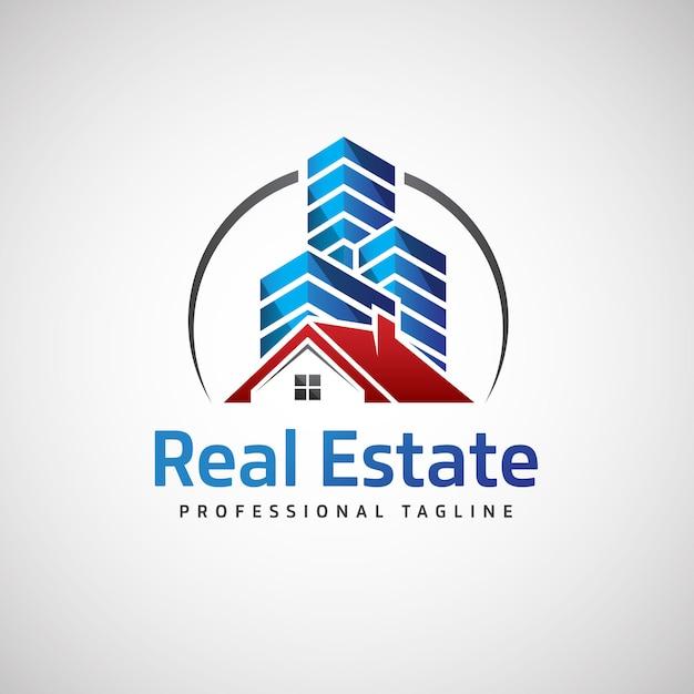 Logotipo de bienes raíces Vector Premium
