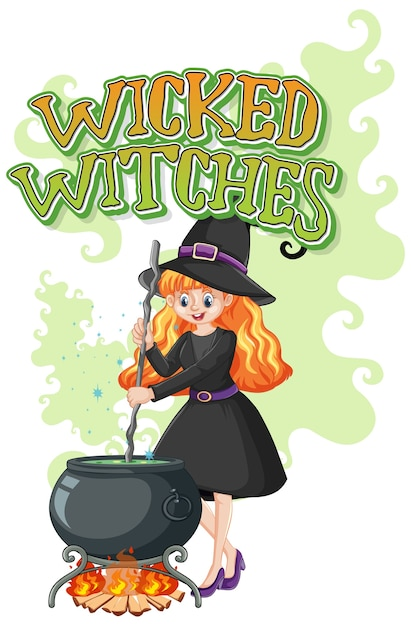Logotipo de brujas malvadas sobre fondo blanco vector gratuito