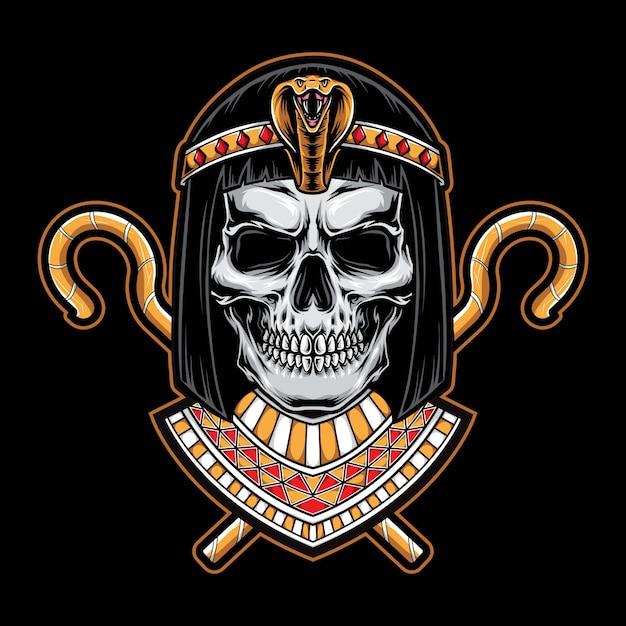 Logotipo de la cabeza del cráneo cleopatra Vector Premium