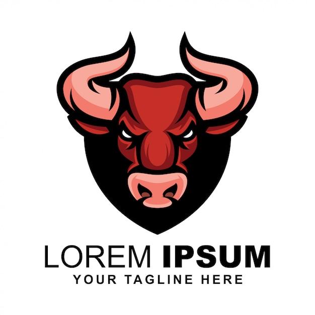 Logotipo de cabeza de toro Vector Premium