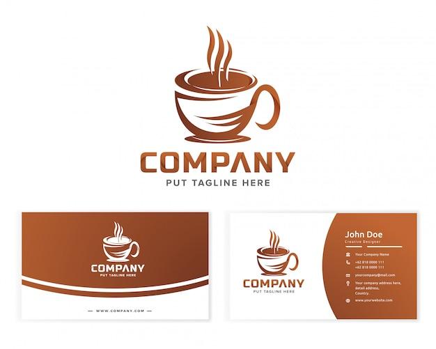 Logotipo de café para empresa comercial Vector Premium