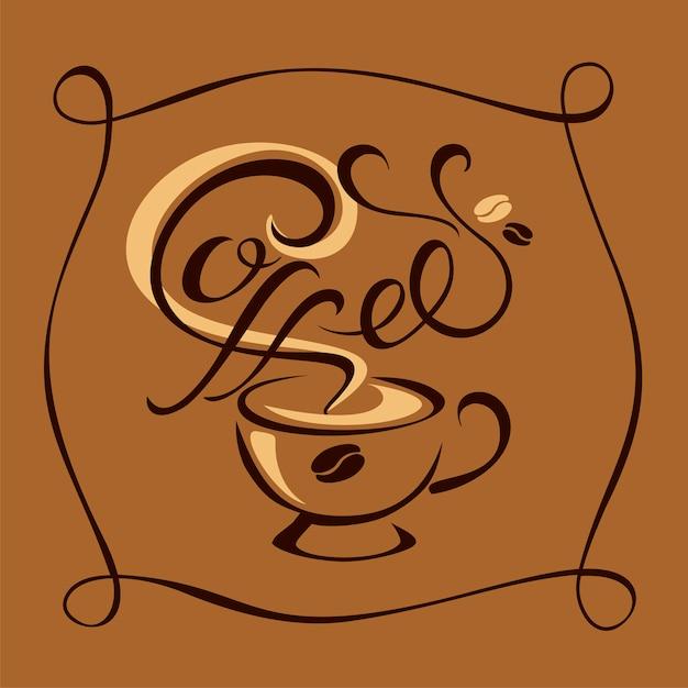 Logotipo de café con estilo Vector Premium