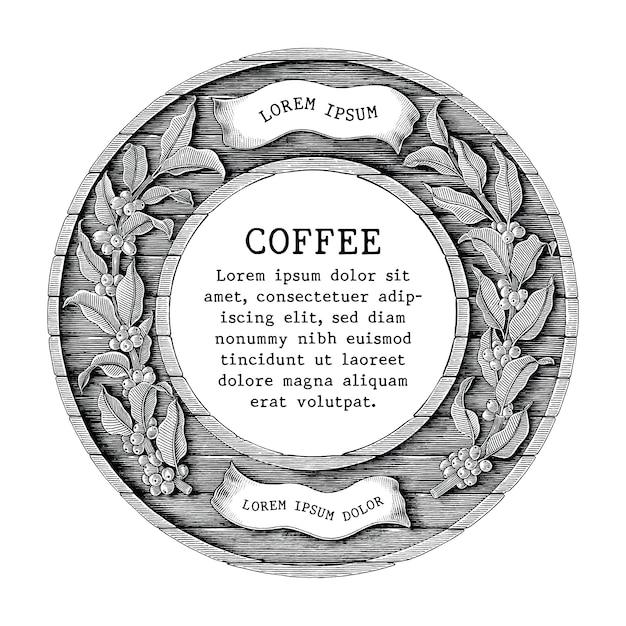 Logotipo de cafetería y etiqueta de producto de café a mano dibujar estilo de grabado vintage aislado sobre fondo blanco. Vector Premium