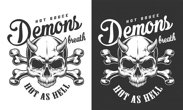 Logotipo de calavera demonio monocromo vintage vector gratuito
