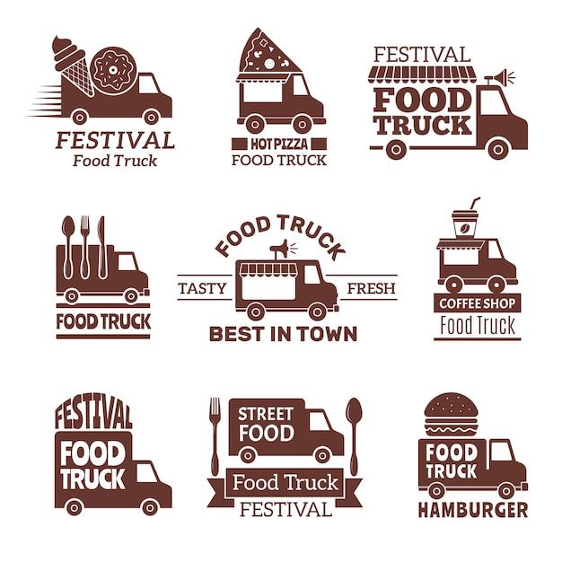 Logotipo del camión de comida, street festival van fast catering etiquetas de cocina al aire libre e insignias estilo monocromo Vector Premium