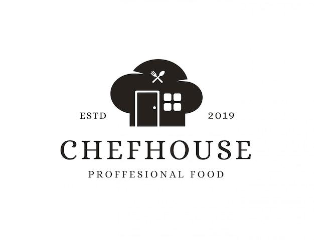 Logotipo de la casa del chef Vector Premium