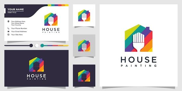 Logotipo de la casa con concepto de pincel de pintura de color y negocio Vector Premium
