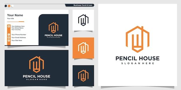 Logotipo de la casa con lápiz de arte lineal dentro de estilo y tarjeta de visita Vector Premium