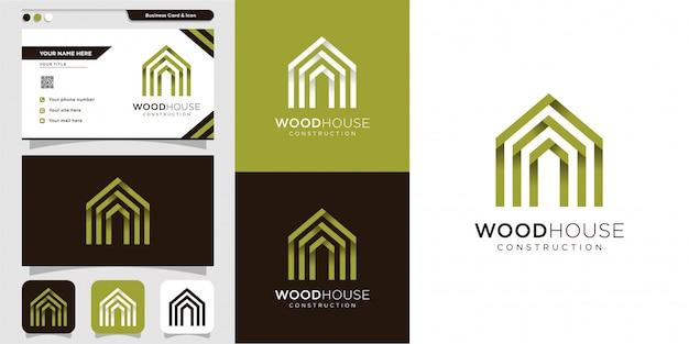 Logotipo de la casa de madera y plantilla de diseño de tarjeta de visita, moderno, madera, casa, hogar, construcción, construcción Vector Premium