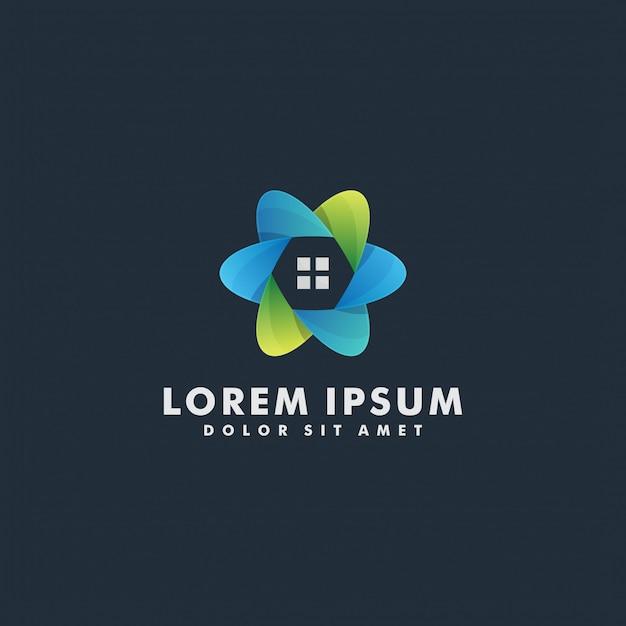 Logotipo de la casa plantilla de vector de diseño abstracto en forma de círculo. servicios para el hogar ecología del hogar concepto de logotipo inteligente verde Vector Premium