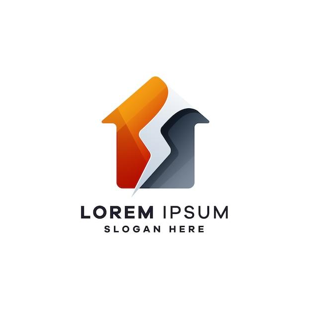 Logotipo de la casa del rayo Vector Premium