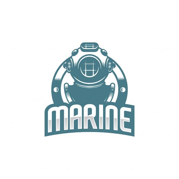 Logotipo de casco de buceo clásico. Vector Premium