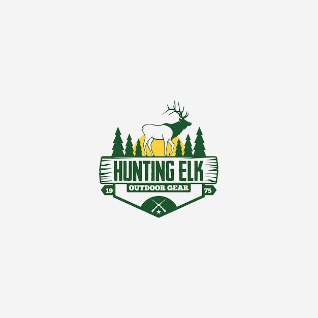 Logotipo de caza elk Vector Premium