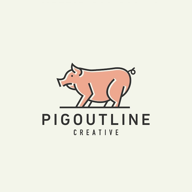 Logotipo de cerdo Vector Premium