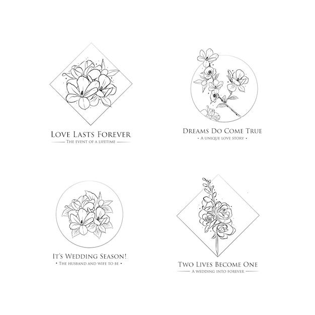 Logotipo con ceremonia de boda para branding e icono vector gratuito