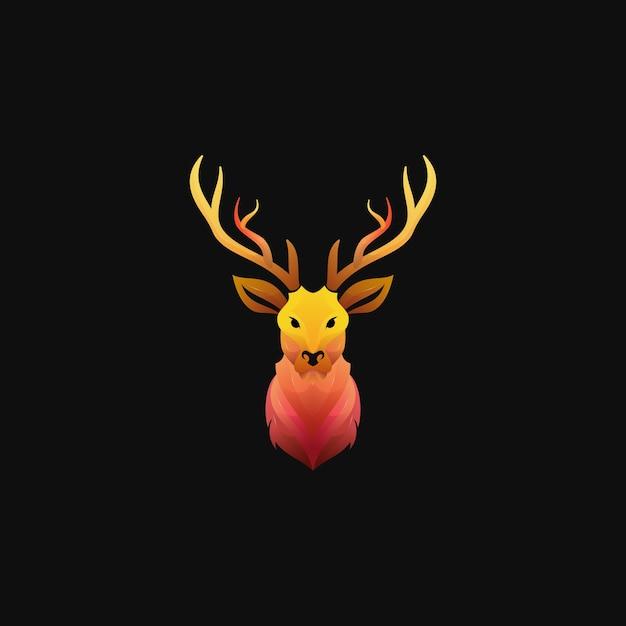 Logotipo de ciervo degradado colorido moderno Vector Premium